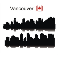 Vancouver city skyline black silhouette vector