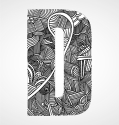 Letter d from doodle alphabet vector
