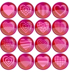 Buttons valentine heart set vector