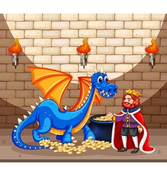King and blue dragon with gold coins vector