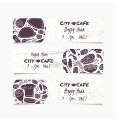 Banners set with hand drawn food round doodle vector