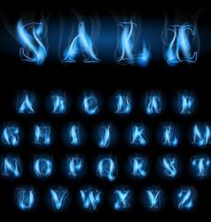 Blue fire letters sale vector