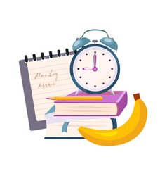 books clock and banana set of school and vector image