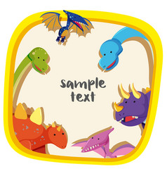 Border template with different types of dinosaurs vector