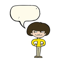 Cartoon boy with hands on hips with speech bubble vector