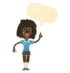 Cartoon tough woman with idea with speech bubble vector