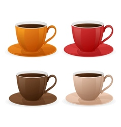 cup of coffee set vector image vector image