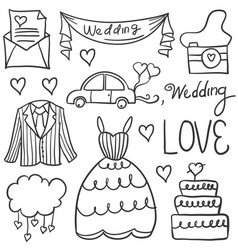 Doodle of wedding element various vector