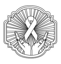 Emblem ornamental hands holding up breast cancer vector