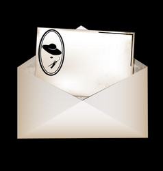 Envelope and retro female card vector