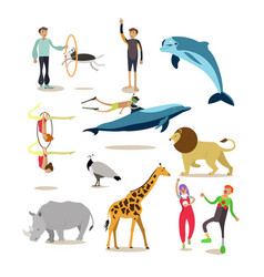 Flat icons set of dolphinarium circus and vector