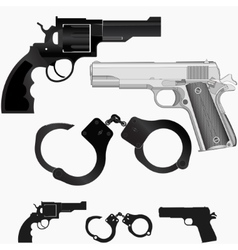 Gun revolver and handcuffs vector image
