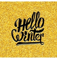 Hello winter typography on gold tinsel background vector