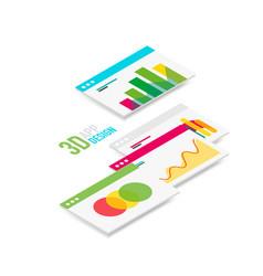 Isometric 3d user interface design vector