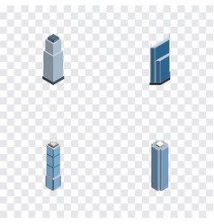 Isometric building set of tower residential vector