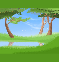 Lake in nature vector