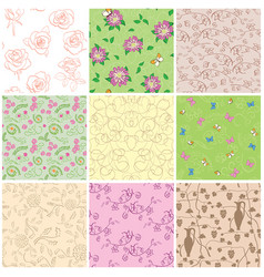 Light and dark seamless patterns with flowers vector