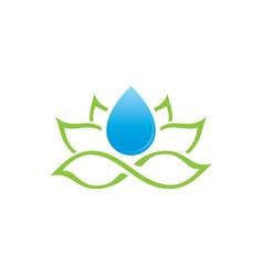 lotus and water drop logo vector image vector image