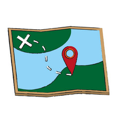 Map with location pin icon image vector