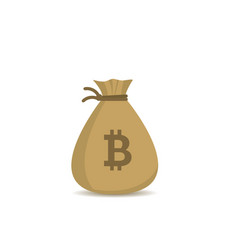 money bag with bitcoin sign vector image