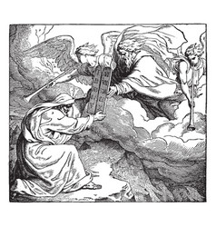 Moses receiving the tables of the law vintage vector