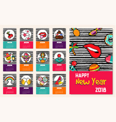 New year 2018 comic patch icon set calendar vector