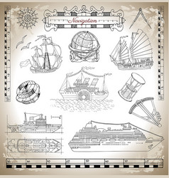old and modern ships vector image