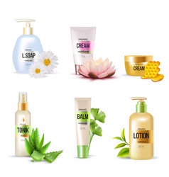 Organic cosmetics set vector
