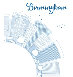 Outline birmingham alabama skyline vector
