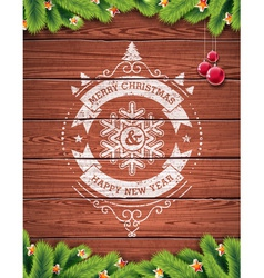 Painted vintage Merry Christmas typographic design vector image vector image