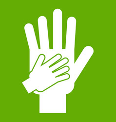 parent and child hands together icon green vector image