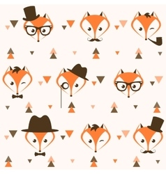 Pattern with hipster foxes and triangles vector image