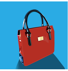 Realistic red bag with handles on blue background vector