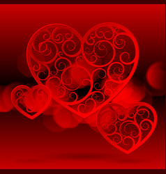red paper hearts vector image vector image