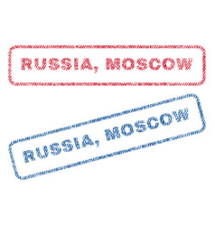 Russia moscow textile stamps vector