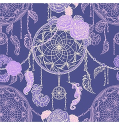 seamless pattern with dream catcher vector image vector image