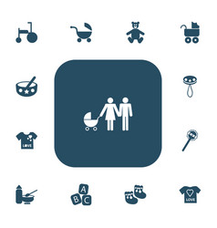 set of 13 editable kid icons includes symbols vector image