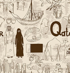 Sketch qatar seamless pattern vector