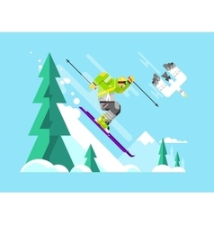 Skier character vector image