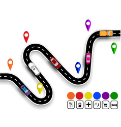 winding road with signs the movement of cars the vector image vector image