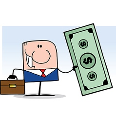 Businessman Holding Cash vector image