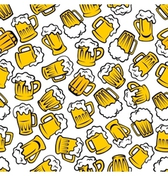 Mugs of beer lager ale drinks seamless pattern vector