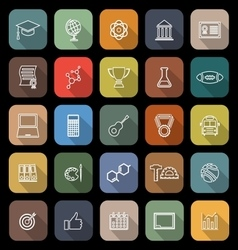 College line flat icons with long shadow vector