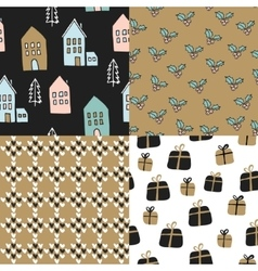 Set of christmas seamless patterns cute festive vector