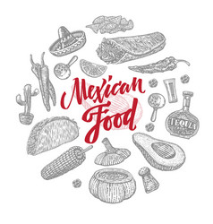 sketch mexican food objects set vector image