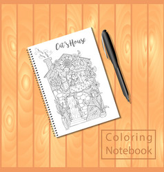 spiral bound notepad or coloring book with picture vector image