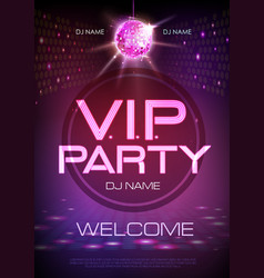 Neon sign vip party disco poster vector