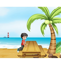 A boy at the beach with a wooden table near the vector
