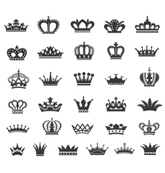 Set of crown icons vector image
