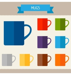 Mugs colored templates for your design in flat vector
